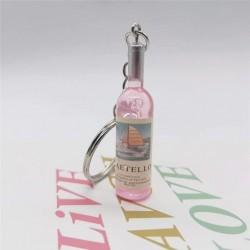 Porte-clés bouteille de vin rosé