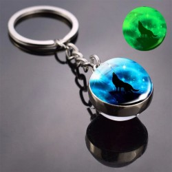Porte-clés boule de verre loup