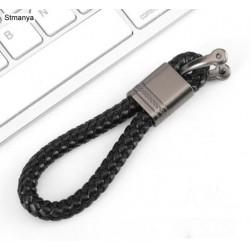 Porte-clés poignée noir tissé à la main