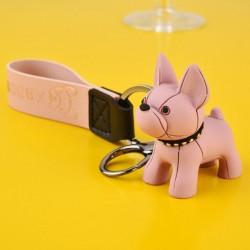 Porte-clés bouledogue français rose en cuir