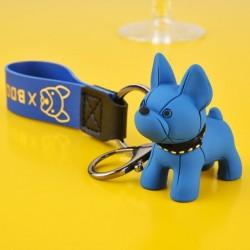 Porte-clés bouledogue français bleu en cuir