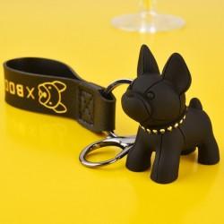 Porte-clés bouledogue français noir en cuir