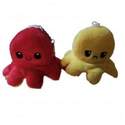 Porte-clés poulpe en peluche double face jaune - rouge
