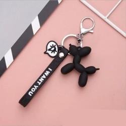 Porte-clés chien en ballon noir