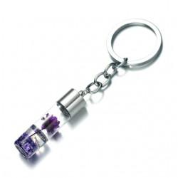 Porte-clés créatif flacon avec fleur violette sèche