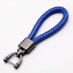 Porte-clés poignée bleue fait main avec boucle fer à cheval
