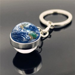 Porte clé boule de verre carte du monde